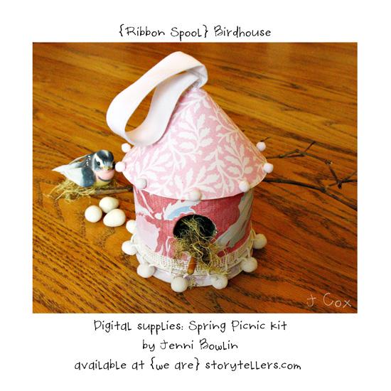 Ribbon-spool-birdhouse